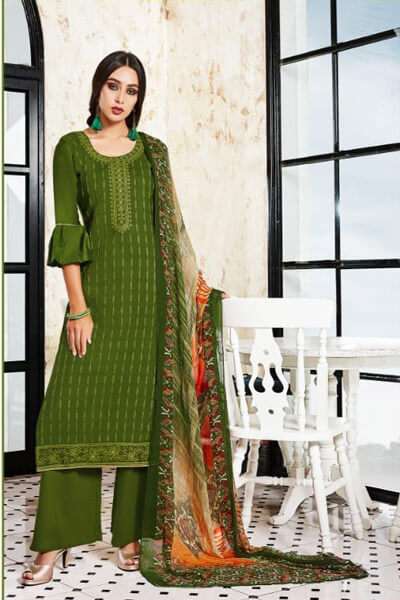 Parchhaai Noor Jam Satin With Heavy Embroidery Suit 1055