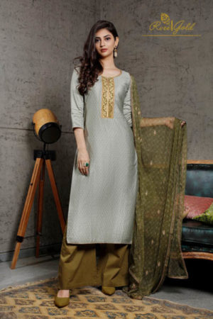 Rvee Gold Festive Crush Jam Satin Printed With Self Embroidery Suit 316