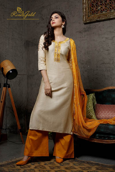 Rvee Gold Festive Crush Jam Satin Printed With Self Embroidery Suit 317