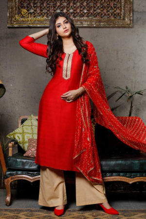 Rvee Gold Festive Crush Jam Satin Printed With Self Embroidery Suit 319