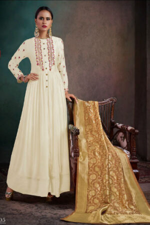Shai Rhythm Pure Bemberg Slik Aanarkali With Hand Work Suits 1705
