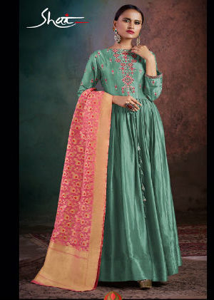 Shai Rhythm Pure Bemberg Slik Aanarkali and Hand Work Suit 1706
