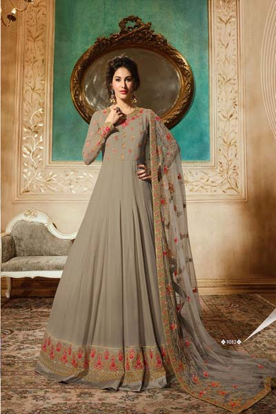 Simar Amyra pure georgette and santoon embroiderd Anarkali suit 9082