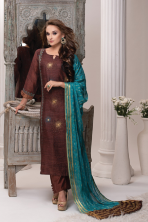 Sri Chahat Creamy Silk With Hand Embroidery Salwar Kameez 684