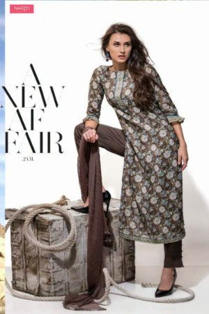 Tacfab Arizona Pure Chanderi Printed With Golden Handwork Suit 2131