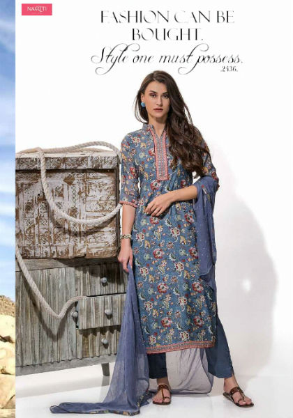 Tacfab Arizona Pure Chanderi Printed With Golden Handwork Suit 2136