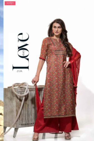 Tacfab Arizona Pure Chanderi Printed With Golden Handwork Suit 2138