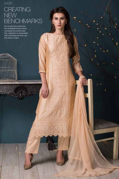 Tacfab Massakali 70gm Chanderi With Zari and Thread Embroidery Suit 2428