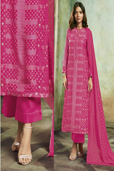 Tm Peach Melba Article Digital Print With Hand Work Suit 608