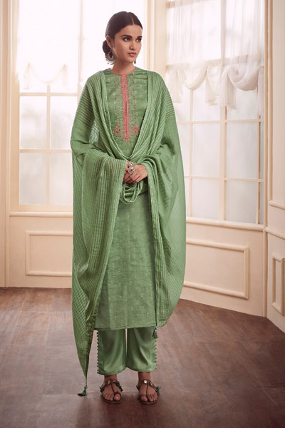 Varsha Fashions Earthy Notes Woven Double Cloth With Embroidery Suit 104