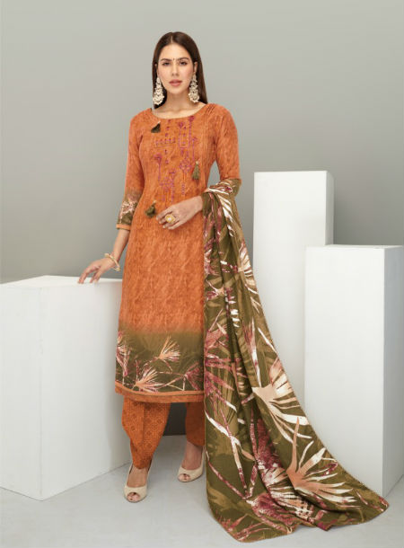 Kesar Foil Collection Pure Printed Pasmina With Embroidery Suit 1010