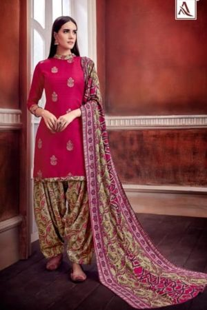 Alok Suit Patiyala Gold Pure Pashmina Self & Foil Print Suits 235-006