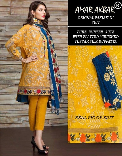 Amar Akbar Pakistani Pure Jute winter Suits 6