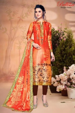 Belliza Designer Studio The Silk 5 Pure Silk with Digital Print Suits 180-001