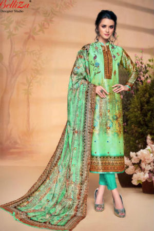 Belliza Designer Studio The Silk 5 Pure Silk with Digital Print Suit 180-007