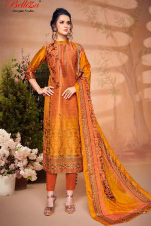 Belliza Designer Studio The Silk 5 Pure Silk with Digital Print Suit 180-009