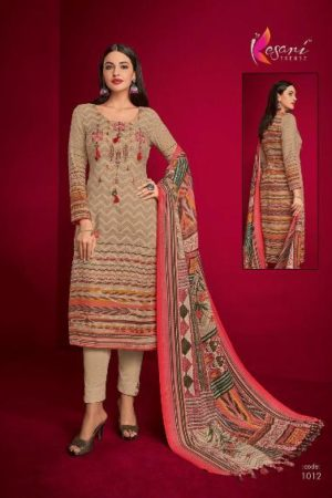 Kesari Aliya Pashmina Dobby Self embroidery work Suits 1012