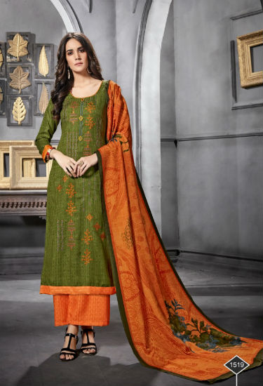 Levisha Farheen Pure Pashmina Jaq Negative Print With Embroidery Suit 1519