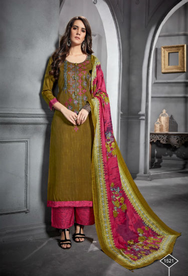 Levisha Farheen Pure Pashmina Jaq Negative Print With Embroidery Suit 1521