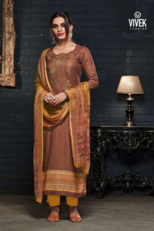 Vivek Mulayam Pashmina With Neck Embroidery Suit 609