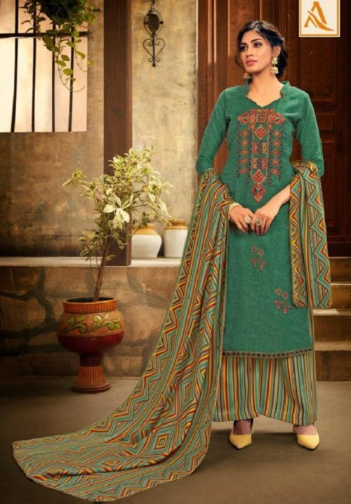 Alok Suit Presents Shan-e-punjab Pashmina Patiyala Suit Collection 240-005