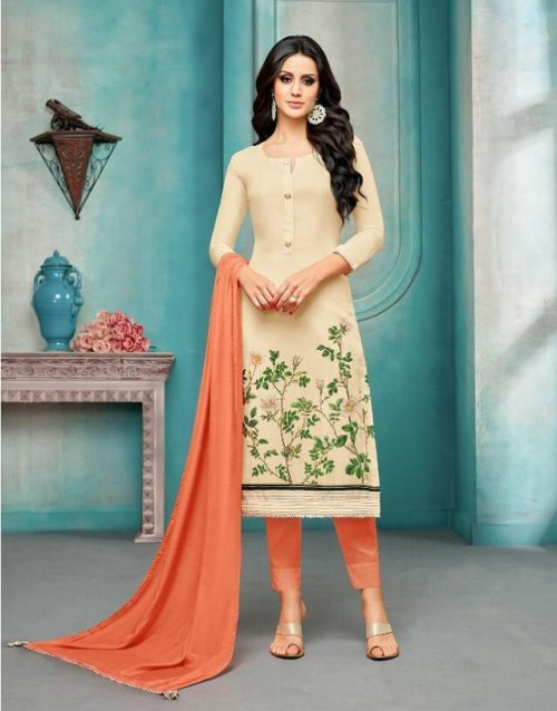 Angroop Plus Presents Wedding Collection Maslin Silk Embroidery Suit 038