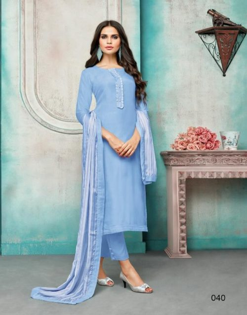 Angroop Plus Presents Wedding Collection Maslin Silk Embroidery Suits 040