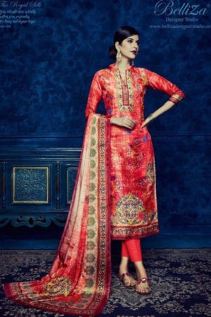 Belliza Designer Studio Presents Pure Upada Silk Collection The Royal Silk Suits 156-008