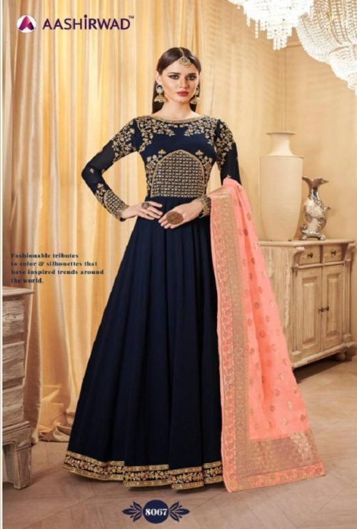 Buy Aashirwad Banarasi Real Georgette Gowns with Banarasi Dupatta 8067