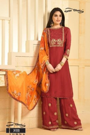 Buy Your Choice Lubna Chinon with Embroidery Salwar Suit 3111