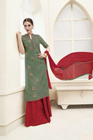 Haya Presents The Classic Rebel Silk Cotton With Embroidery Suit 5971