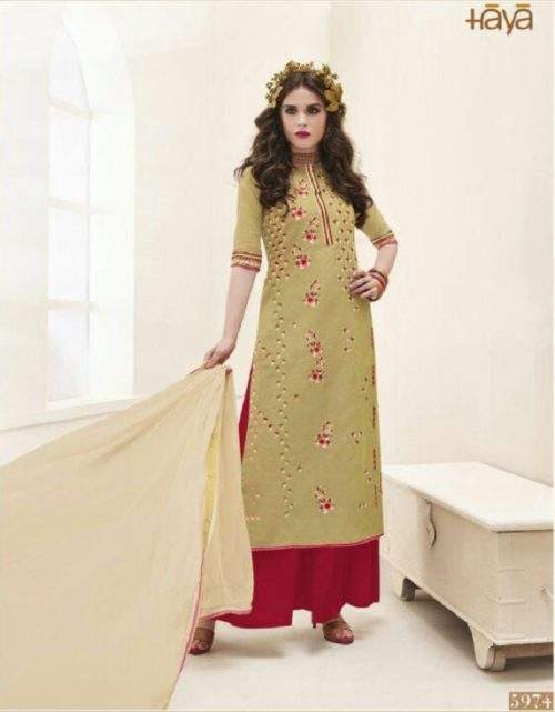 Haya Presents The Classic Rebel Silk Cotton With Embroidery Suit 5974