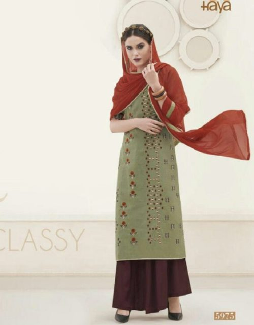 Haya Presents The Classic Rebel Silk Cotton With Embroidery Suit 5975