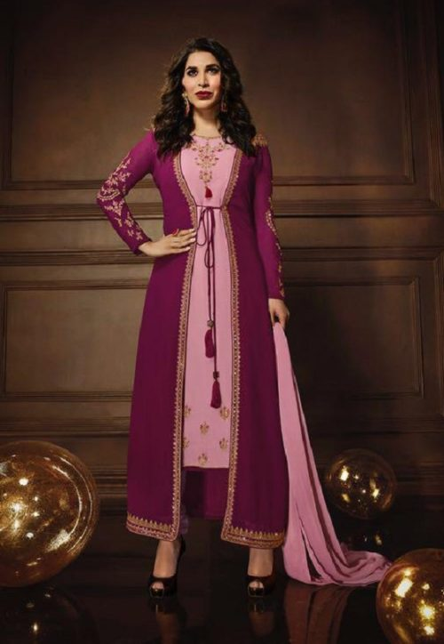 Karma Trends Presents Saufia Chaudhary Jacket Style Georgette Suit 10084