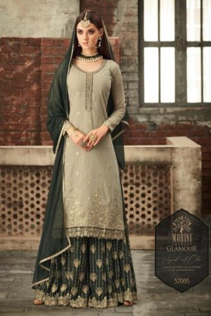Mohini Glamour Vol 57 Latest georgette with embroidery sharara suit Collection 57005