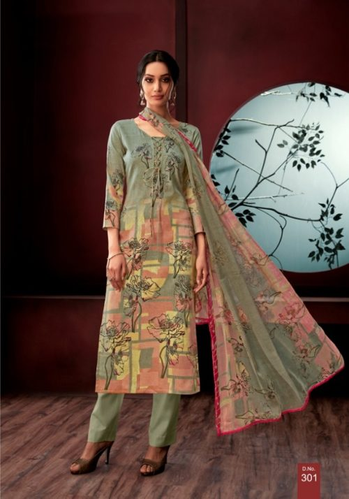 AT Presents Carnation Vol 3 cotton Satin Print suit 301