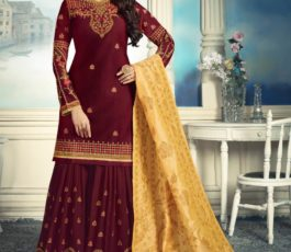 Amirah Sharara Satin Georgette Heavy Embroidery Hand Work Suit 11046