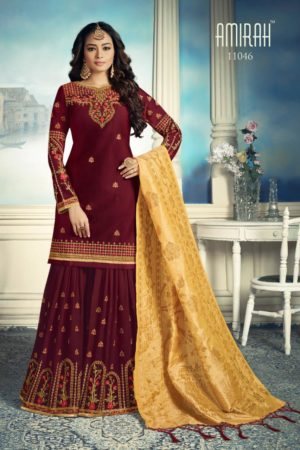 Amirah Sharara Satin Georgette Heavy Embroidery HandWork Suit 11046
