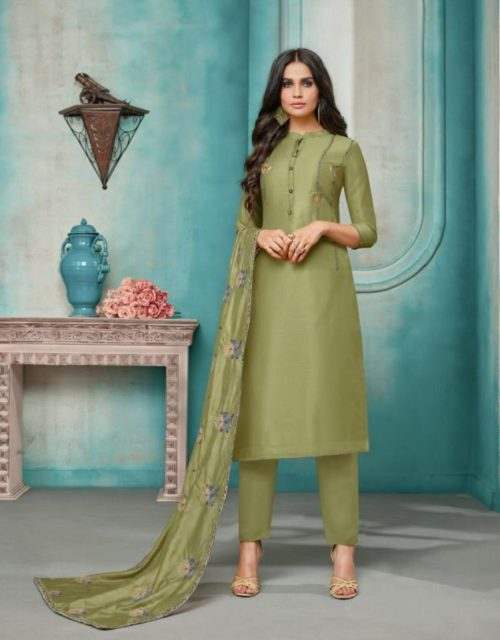 Angroop Plus Daina Vol 3 Masline Silk With Embroidery Suit 046