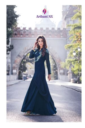Arihant Nx Sasya vol 16 Semi Jorjet With Embroidery Gowns 8136