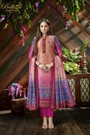 Belliza Designer Studio The Silk 9th Edition Pure Silk Digital Printed Suit 200-008