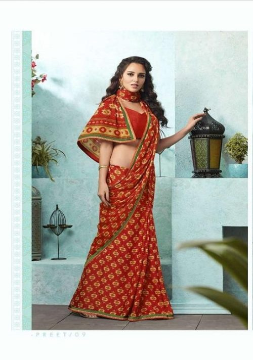 Buy Sahiba Preet Heavy Georgette Printed Saree With Fancy Lace Border 09