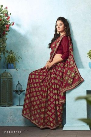 Buy Sahiba Preet Heavy Georgette Printed Saree With Fancy Lace Border 11