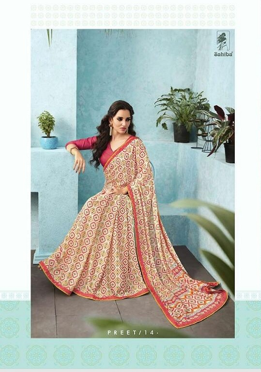 Buy Sahiba Preet Heavy Georgette Printed Saree With Fancy Lace Border 14