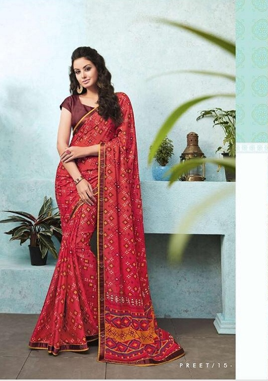 Buy Sahiba Preet Heavy Georgette Printed Saree With Fancy Lace Border 15