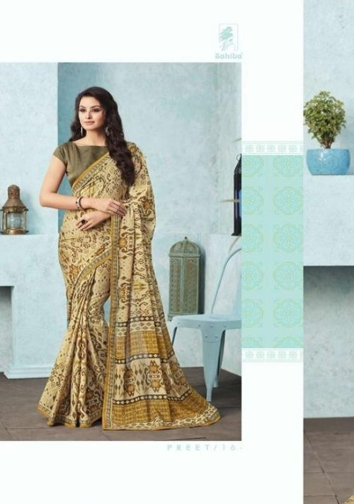 Buy Sahiba Preet Heavy Georgette Printed Saree With Fancy Lace Border 16