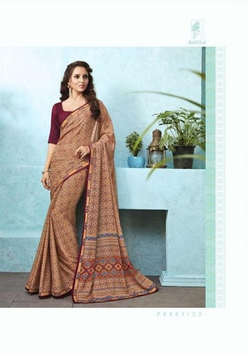 Buy Sahiba Preet Heavy Georgette Printed Saree With Fancy Lace Border 22