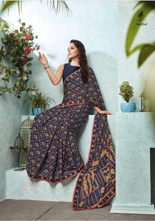 Buy Sahiba Preet Heavy Georgette Printed Sarees With Fancy Lace Border 10
