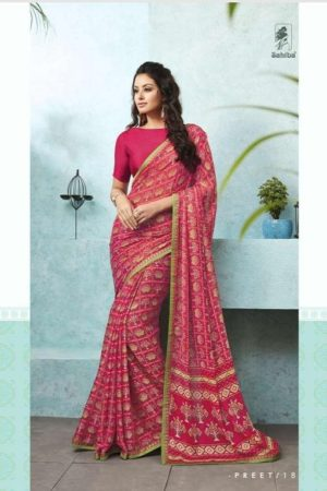 Buy Sahiba Preet Heavy Georgette Printed Sarees With Fancy Lace Border 18