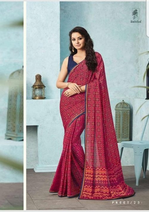 Buy Sahiba Preet Heavy Georgette Printed Sarees With Fancy Lace Border 23